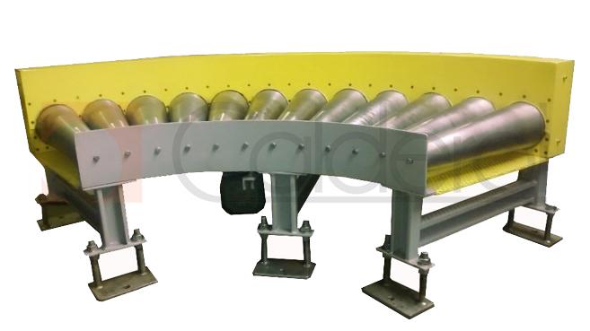 Transportador de roletes  acionados  em curva